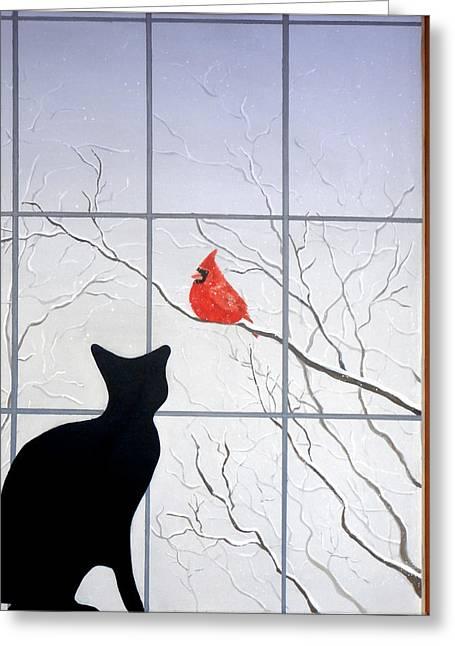 Cat And Cardinal Greeting Card by Karyn Robinson