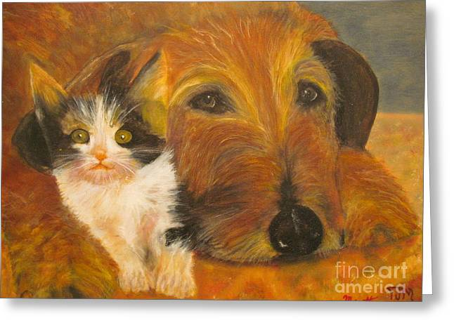 Cat And Dog Original Oil Painting  Greeting Card by Anthony Morretta