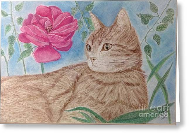 Jaguars Greeting Cards - Cat and Flower Greeting Card by Cybele Chaves