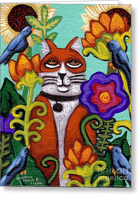 Cat And Four Birds Greeting Card by Genevieve Esson