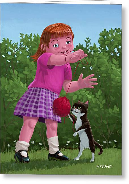 Small Cats Greeting Cards - Cat And Girl Playing Greeting Card by Martin Davey