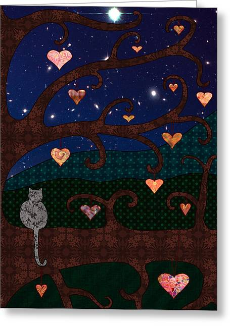 Starry Digital Art Greeting Cards - Cat And Hearts In Tree At Night Greeting Card by Cat Whipple