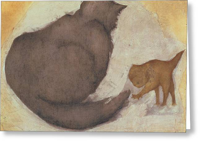Playful Greeting Cards - Cat And Kitten Greeting Card by Sir Edward Coley Burne-Jones