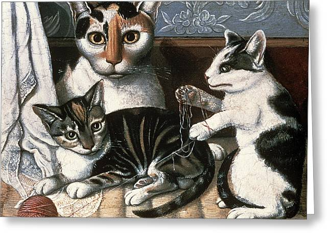 Kitten Greeting Cards - Cat And Kittens, C.1872-1883 Oil On Millboard Greeting Card by American School