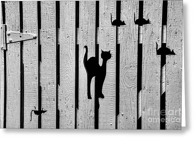Cut-outs Greeting Cards - Cat and Mouse Fence Gate Greeting Card by Henry Kowalski