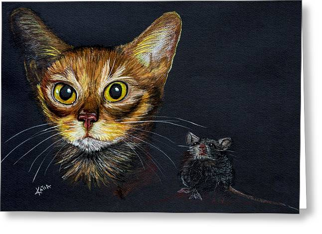 Golden Brown Drawings Greeting Cards - Cat and Mouse Greeting Card by Katia Ramirez