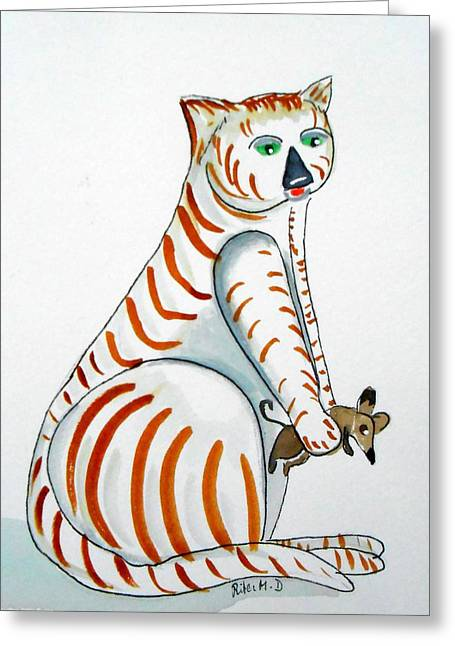 Droplet Paintings Greeting Cards - Cat and Mouse Greeting Card by Rita Drolet