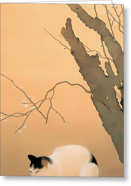 Classic Cats Greeting Cards - Cat and Plum Blossoms Greeting Card by Hishida Shunso
