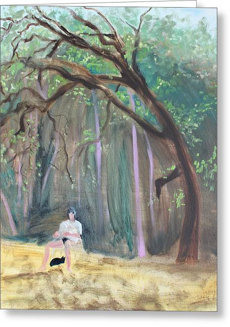 Cat And Reading Man Under A Bay Tree Greeting Card by Asha Carolyn Young