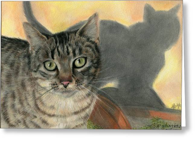 Photorealism Pastels Greeting Cards - Cat and Shadow Greeting Card by Danguole Serstinskaja