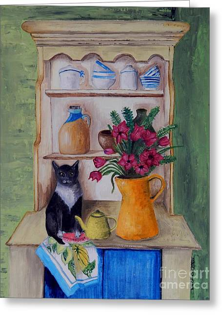 Interior Still Life Greeting Cards - Cat and the Yellow Teapot Greeting Card by Caroline Street