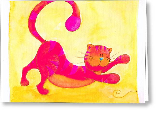 Juvenile Paintings Greeting Cards - Cat and Yarn Greeting Card by Esteban Studio