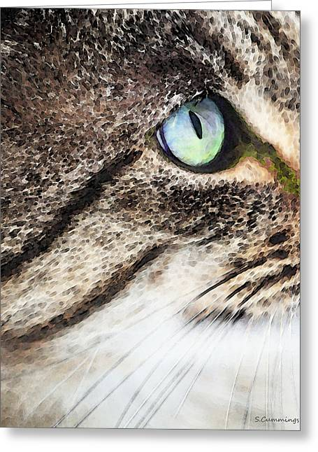 Domestic Digital Greeting Cards - Cat Art - Looking For You Greeting Card by Sharon Cummings