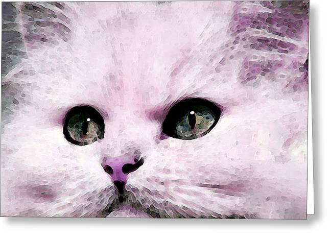 Pet Lover Greeting Cards - Cat Art - My Eyes Adore You Greeting Card by Sharon Cummings