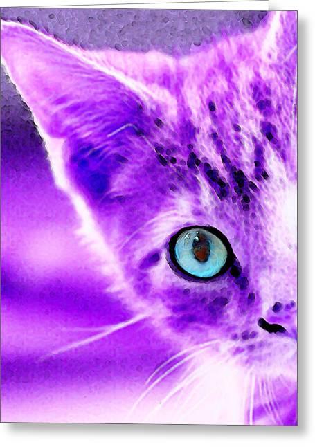 Cat Prints Digital Greeting Cards - Cat Art - Peek A Boo Blue Greeting Card by Sharon Cummings