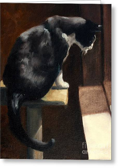 Cat At A Window With A View Greeting Card by Lisa Phillips Owens