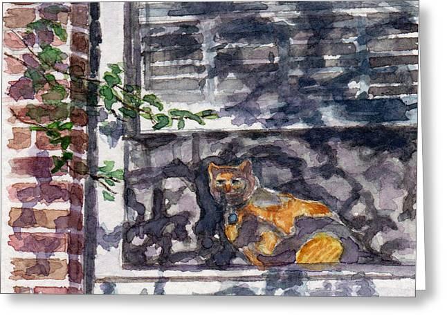 Brick Buildings Pastels Greeting Cards - Cat Behind the Screen Greeting Card by Julie Maas