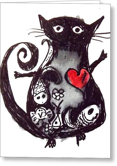 Quirky Drawings Greeting Cards - Cat Belly Greeting Card by Suzen JueL