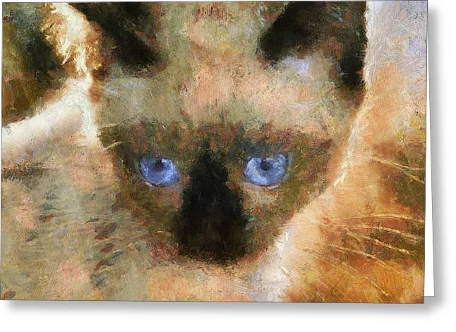 Cat Blue Eyes Greeting Card by Yury Malkov