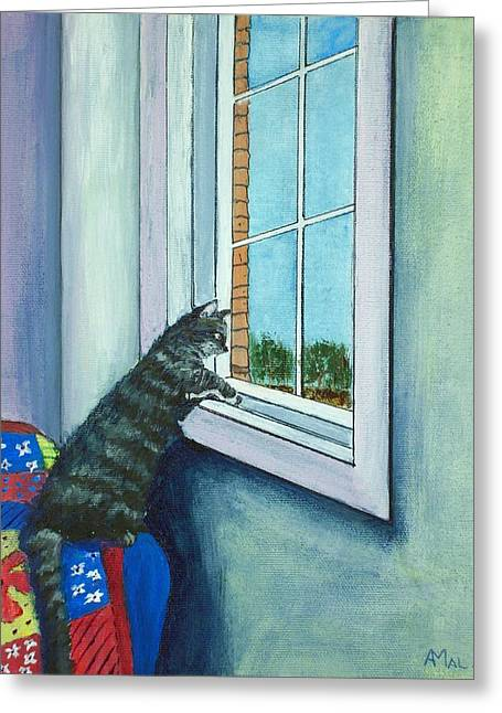 Glass Wall Drawings Greeting Cards - Cat By The Window Greeting Card by Anastasiya Malakhova