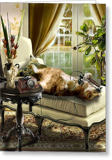 Interior Scene Greeting Cards - Funny pet talking on the phone  Greeting Card by Gina Femrite