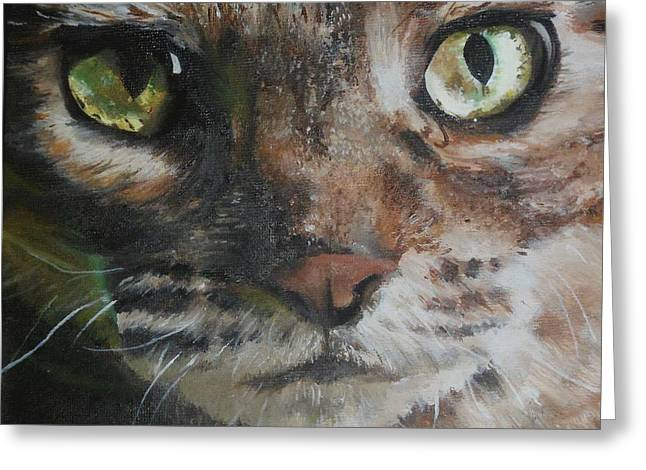 Moggy Greeting Cards - CaT Greeting Card by Cherise Foster