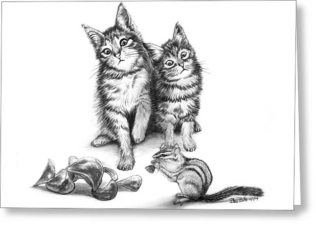 Cat Eyes Drawings Greeting Cards - Cat Chips  Greeting Card by Peter Piatt