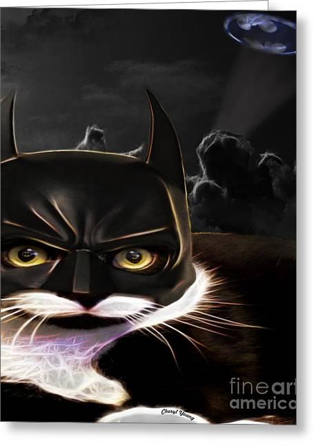 Masked Crusader Greeting Cards - Cat Crusader Greeting Card by Cheryl Young