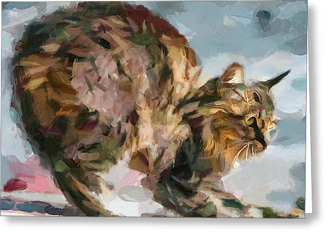 Animals Love Greeting Cards - Cat defence Greeting Card by Yury Malkov