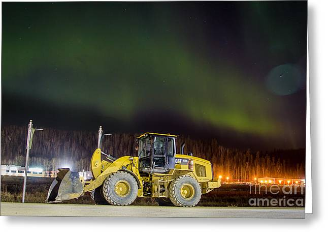 Mining Photos Greeting Cards - CAT Equipment Northern Lights  Greeting Card by Alanna DPhoto