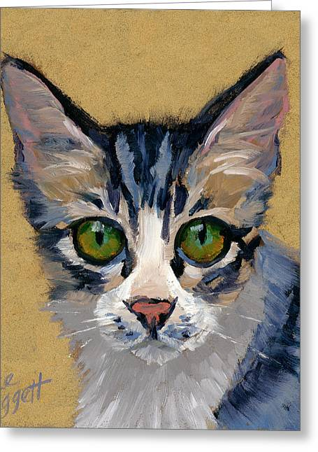 Puss Greeting Cards - Cat Eyes Greeting Card by Alice Leggett