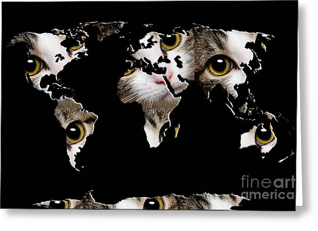 Cat Map Greeting Cards - Cat Eyes World Map 2 Greeting Card by Andee Design