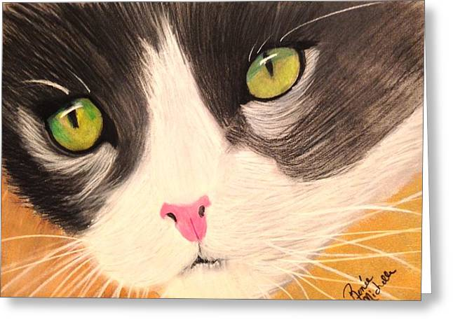Kitten Pastel Kitten Greeting Cards - Cat Face Greeting Card by Renee Michelle Wenker