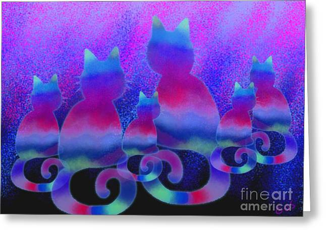 Cats Digital Art Greeting Cards - Cat Family Greeting Card by Nick Gustafson