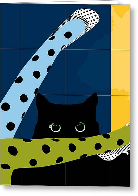 Dressing Room Digital Art Greeting Cards - Cat Fashion Greeting Card by Roby Marelly