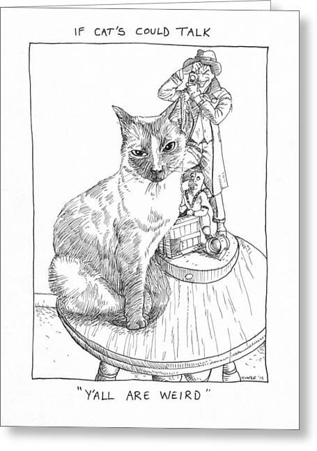 Batman Drawings Greeting Cards - Cat Girl and the Joker Greeting Card by Steve Hunter