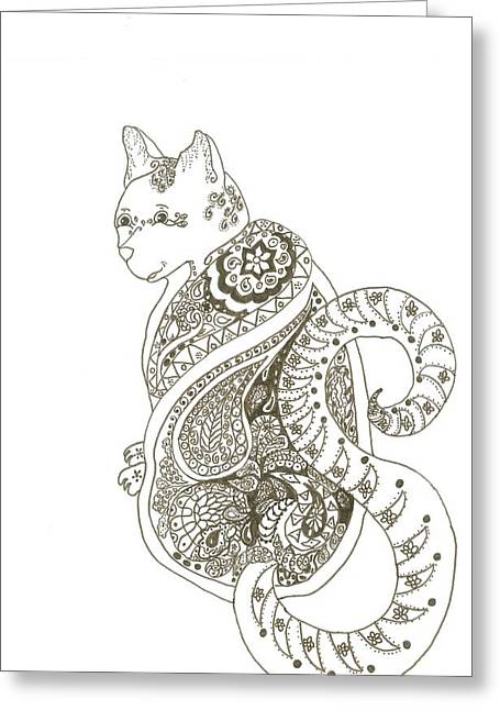 House Pet Mixed Media Greeting Cards - Cat  Greeting Card by Heather  Stirnweis