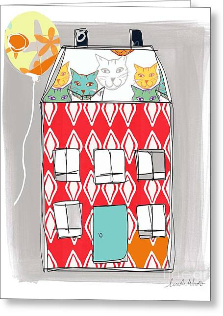 Blue Cat Greeting Cards - Cat House Greeting Card by Linda Woods