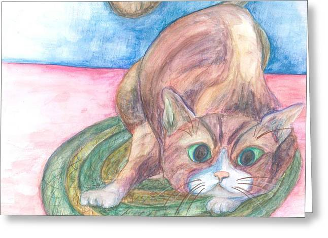 Braided Rugs Greeting Cards - Cat in Action Greeting Card by Cherie Sexsmith