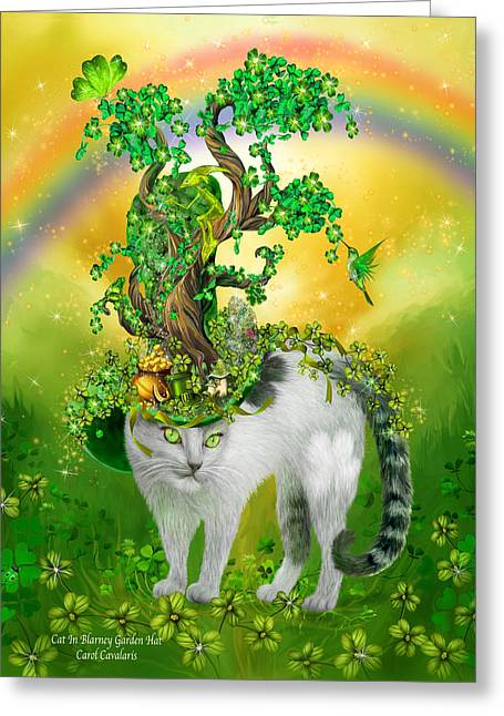 Hat Art Cat In Hat Art Greeting Cards - Cat In Blarney Garden Hat Greeting Card by Carol Cavalaris