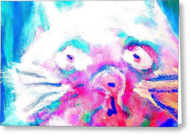 Mental Process Paintings Greeting Cards - Cat in blue Greeting Card by Hilde Widerberg