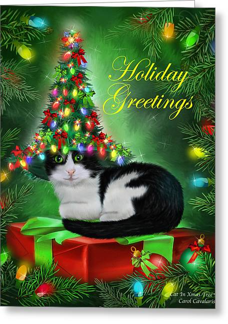 Cat In Christmas Tree Hat Greeting Card by Carol Cavalaris