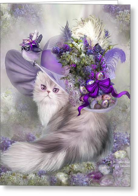Cat In Easter Lilac Hat Greeting Card by Carol Cavalaris