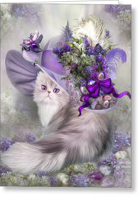 Holiday Art Greeting Cards - Cat In Easter Lilac Hat Greeting Card by Carol Cavalaris