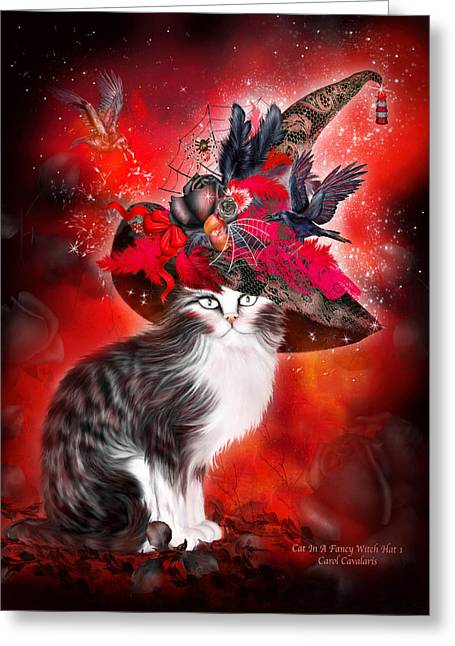 Feline Mixed Media Greeting Cards - Cat In Fancy Witch Hat 1 Greeting Card by Carol Cavalaris