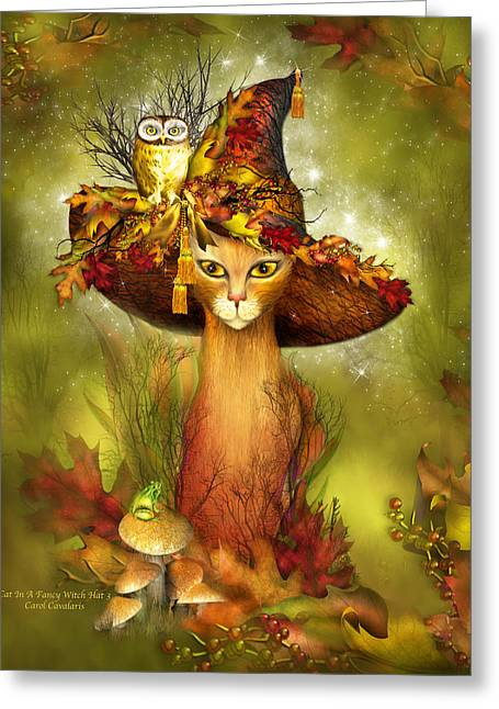 Cat In Fancy Witch Hat 3 Greeting Card by Carol Cavalaris