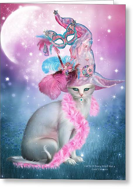 Witch Cat Greeting Cards - Cat In Fancy Witch Hat 4 Greeting Card by Carol Cavalaris