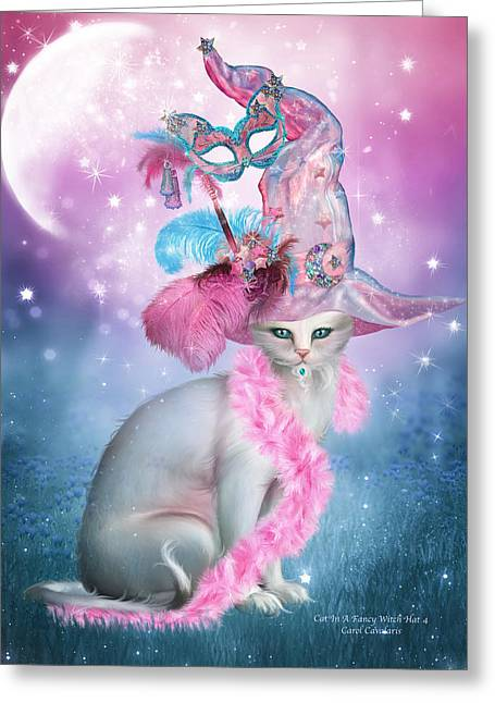 Cat Prints Greeting Cards - Cat In Fancy Witch Hat 4 Greeting Card by Carol Cavalaris