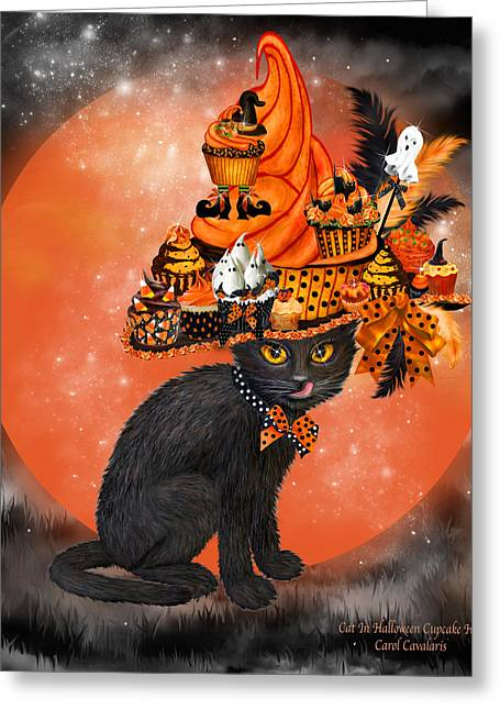 Hat Art Cat In Hat Art Greeting Cards - Cat In Halloween Cupcake Hat Greeting Card by Carol Cavalaris
