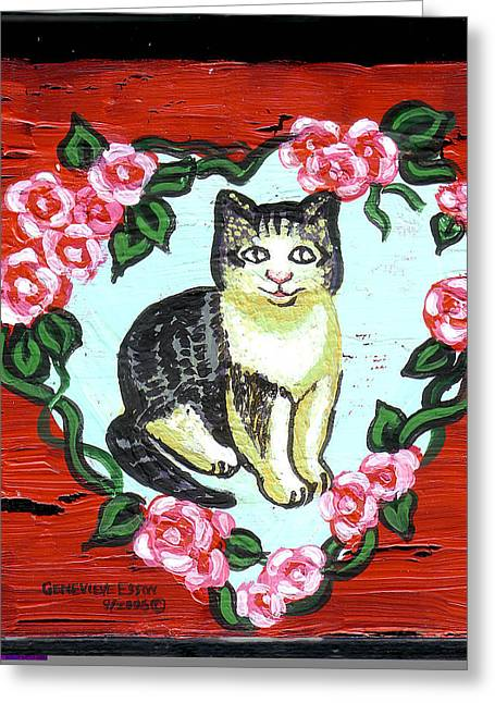Wood. Commissions Greeting Cards - Cat In Heart Wreath 1 Greeting Card by Genevieve Esson